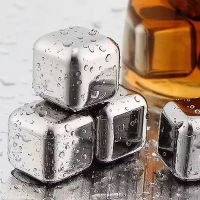 Whiskey Stones Bar Whisky Chilling Cooling Rocks Reusable Steel Ice Cubes Safe