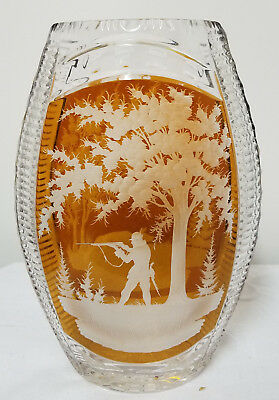 Antique Vintage Cut Glass Crystal Vase Hunting Scene Bohemian Art Glass German