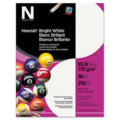 Neenah Card Stock, Letter, Bright White, 65lb, 250 Sheets WAU 91904