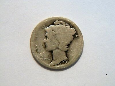 1917-P Silver Mercury Dime,  Nice *Low Priced* Vintage Coin, can use as a filler