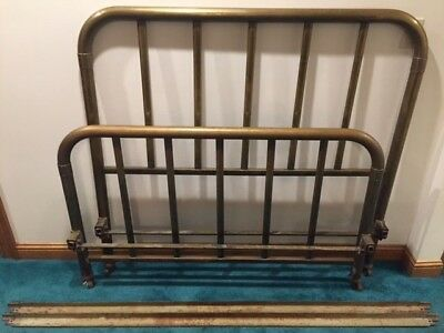 Antique Brass Double Bed with original rails.