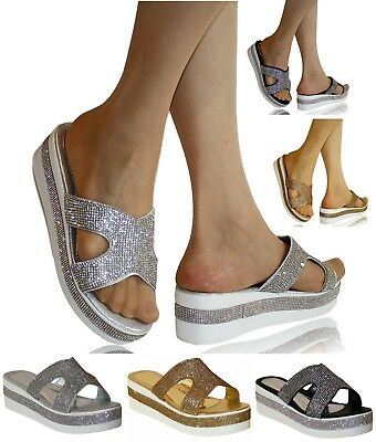 Womens Party Bridal Diamante Low Mid Wedge Heel Mules Slip on Shoes Sandals -339