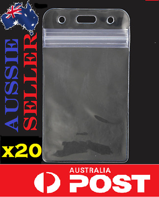 20x Quality Plastic Clear ID Card Holder Sleeve Pouch lanyard work AUSSIE SELLER