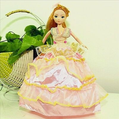 Handmade Party Dress Fashion Clothes For Barbie Doll Outfit Gown Wedding PinkY