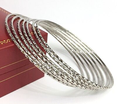 Solid 9ct Yellow Gold 3mm Slave Diamond-cut Round Bangle 4g LUXURY Gift Boxed
