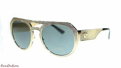 afd9fc1497b Versace Women s Sunglasses VE2175 100287 Gold Grey Round 60mm Authentic