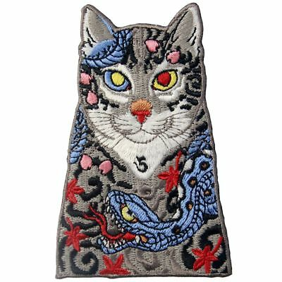 Embroidered Patches Iron Sew On transfers badges appliques Rock Cats with Snakes