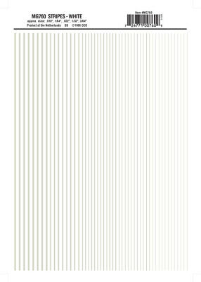 Woodland Scenics MG760 White Stripes Dry Transfer Decals Model Graphics