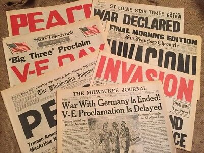Huge Lot Of 7 WWII Historical Reissue Newspapers 1944 1945 Invasion Peace VE Day