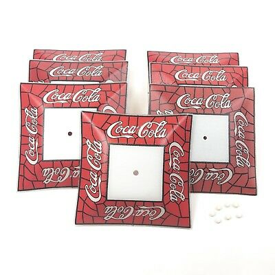 Vintage 70's COCA COLA Glass Ceiling Light Fixture Red White Shade Soda Lot of 7