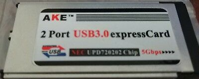 2x Port USB3.0 5Gbps ExpressCard NEC UPD720202 Chip FREE P&P