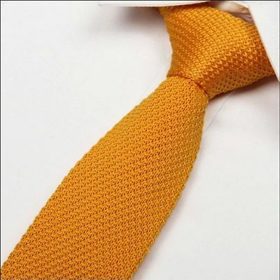Pure Solid Knitted Slim Knit Fashion Necktie Woven Narrow Tie