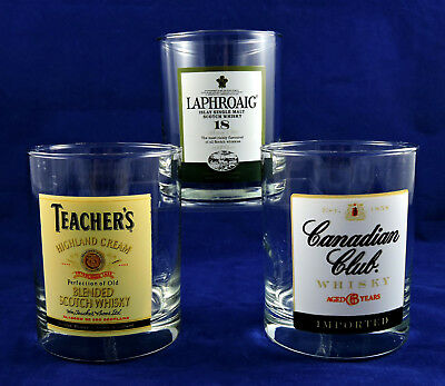 Scotch Whiskey Rocks Glasses Set of 3 Laphroaig Teachers Canadian Club Top Shelf