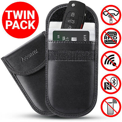 2x Lock Car Key Keyless Entry Anti-Theft Fob Signal Blocker Pouch Faraday Bag UK