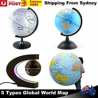 World Earth Globe Rotating Magnetic Geography Map Light Blue Ocean Ball Kid Gift