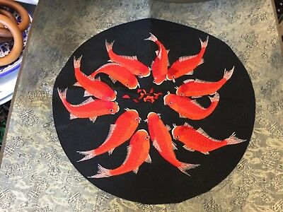 43cm square finely embroidered koi carp on brocade background NWOT Unwanted gift