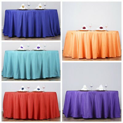 """132"""" Round Polyester Tablecloths for Wedding Party Linens SUPPLY WHOLESALE"""