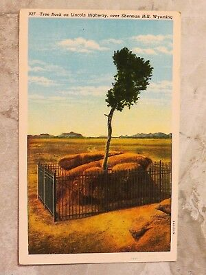Vintage 1929 Postcard: Tree Rock on Lincoln HWY Over Sherman Hill Wyoming WY