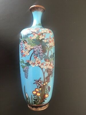 Antique Meiji Period Japanese Cloisonne Floral Vase