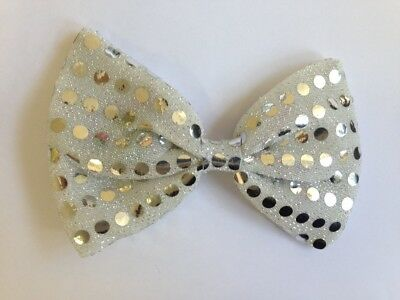 Light Up Flashing(4 led) Silver Sequin Fancy Dress Halloween Bow Tie Accessory