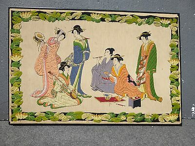 Vintage Oriental Asian 5 Women Musical Scene Embroidery PICTURE Wall Hanging