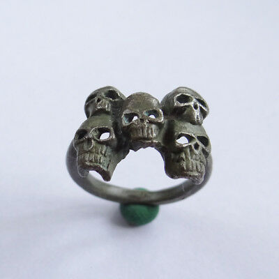 Russian Medieval Ancient Artifact Silver Ring With Skulls