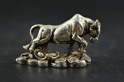 Decorated Miao Silver Carving Cattle & C0in Rare Wealth Lucky Delicate Statue