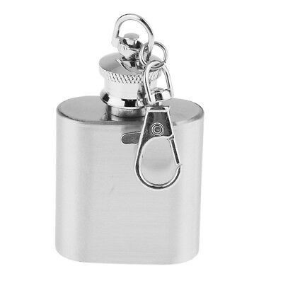 1oz Portable Liquor Drink Bottle Hip Flask with Keychain Stainless Steel