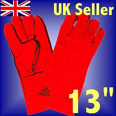 Heat Resistant Leather Gloves Stove Fireside Woodburner Fireplace BBQ Barbeque