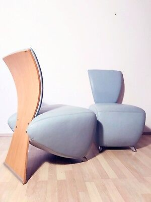 1of2 POST-MODERN 1990s 2000s LEATHER LOUNGE CHAIR BOBO BY DAUPHIN