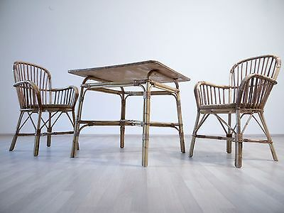 VINTAGE MID CENTURY 1960s 1970s BAMBOO OUTDOOR GARDEN TERRACE CHAIRS WITH TABLE