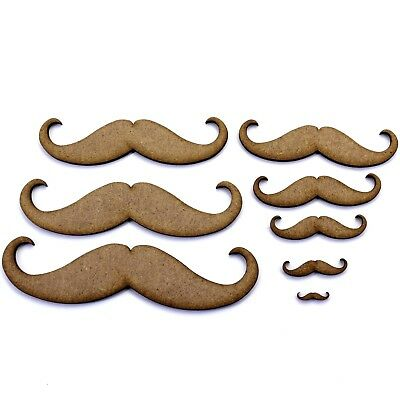 Hipster Moustache Craft Shape, Various Sizes, 2mm MDF Wood.