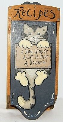 Vintage Wood Large Recipe Card Box & Dividers Hand Painted Grey Cat Unique EUC