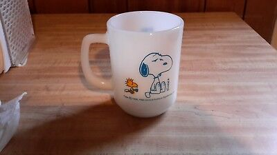 "Fire King...1958 Snoopy..I""M NOT WORTH A THING BEFORE COFFEE BREAK! Coffee mug"