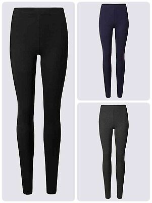 Ex M&S Women's Leggings Grey Black Navy High Waist Szs 6-26  S R L Length