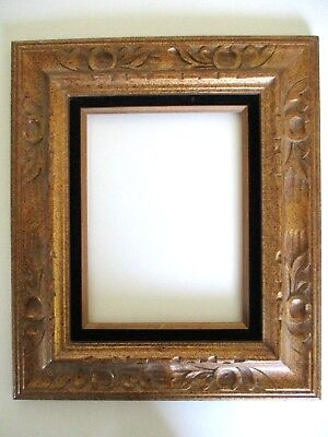 VINTAGE CARVED Gold Painted Wood Picture Frame Mexico 9\