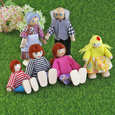 6 Dolls Miniature Figures Wooden House Family People Kids Children Play Toy Gift