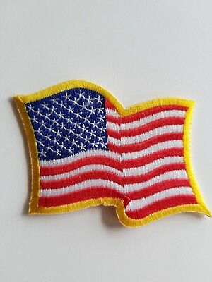 """American Flag Wavy Embroidered Iron On 3"""" Patch USA Flag Patch Biker MC"""