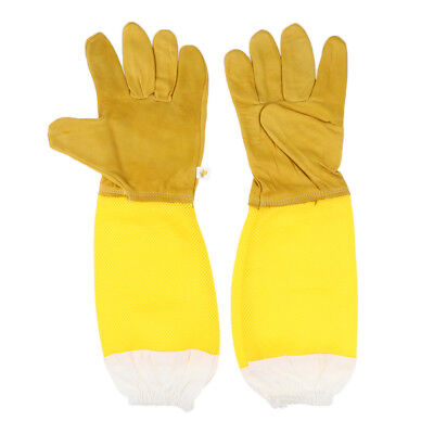 Beekeeping Gloves Bee Gloves Soft Leather and Breathability Mesh Yellow