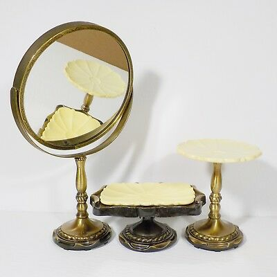 Vintage soap dishes and mirror Amerock brass tone pedestal carriage vanity