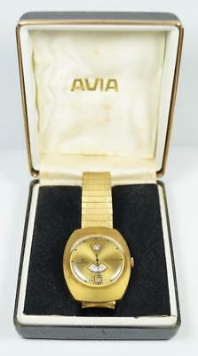 Vintage 1970's NEWMARK 'Jump Hour' Rare Watch + Box Working 3685 Swiss Made