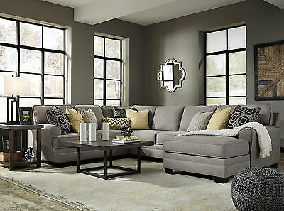 MERIDA SECTIONAL COUCH Living Room Set - 4pcs Modern Gray Microfiber ...