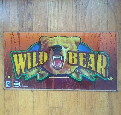 """Wild Bear Casino Slot Machine Game Glass Top Advertisement Sign by IGT 9"""" x 17"""""""