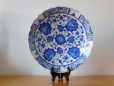 c.20th - Vintage Persian Turkey Middle East Large Blue & White Pottery Bowl