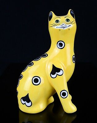-Griselda Hill Pottery, Wemyss- Seated Yellow Hearts Galle Cat Kitten Figure
