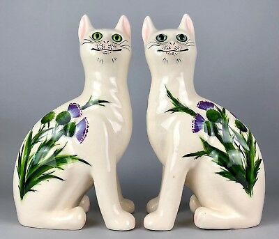Griselda Hill Pottery, Wemyss -Thistle Cats- Large Seated Galle Figure Pair
