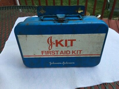 Vintage J-Kit Johnson & Johnson Metal Case First Aid Kit w contents