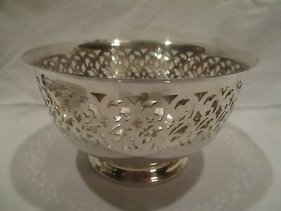 Vintage Silver Plate Bowl Footed Dish Cut Out Design
