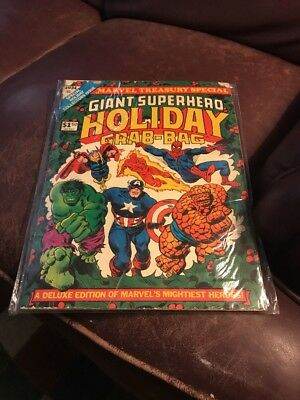 Giant Superhero Holiday Grab-Bag Marvel Treasury Special Deluxe Ed.-1974-lowered