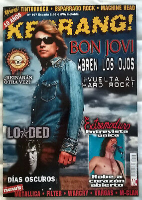 Revista Kerrang! España Nº107 - Bon Jovi, Extremoduro, Loaded, Metallica, Filter